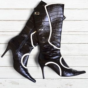 🎉HP🎉 PAZZO Black/White Leather High Heel Boots